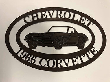 Steel CNC Corvette Sign
