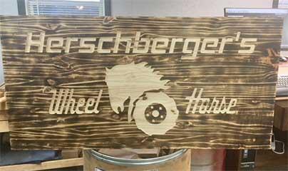Herschbergers Wheel Horse Wood Sign