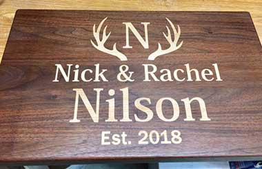 Nick Rachel Nilson Est. 2018 Wood Sign