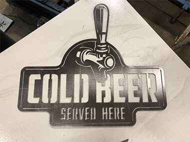 Steel CNC Fabrication - Cold Beer Sign