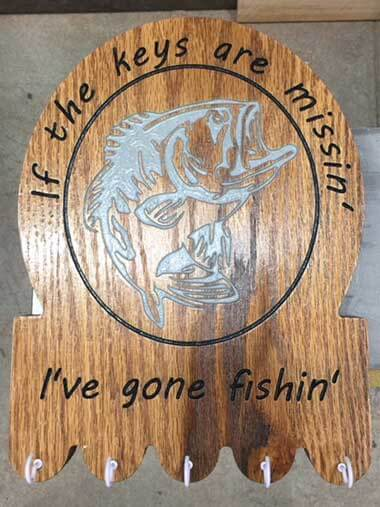 Wood Sign Keyholder if the Keys Are Mission I've Gone Fishin'