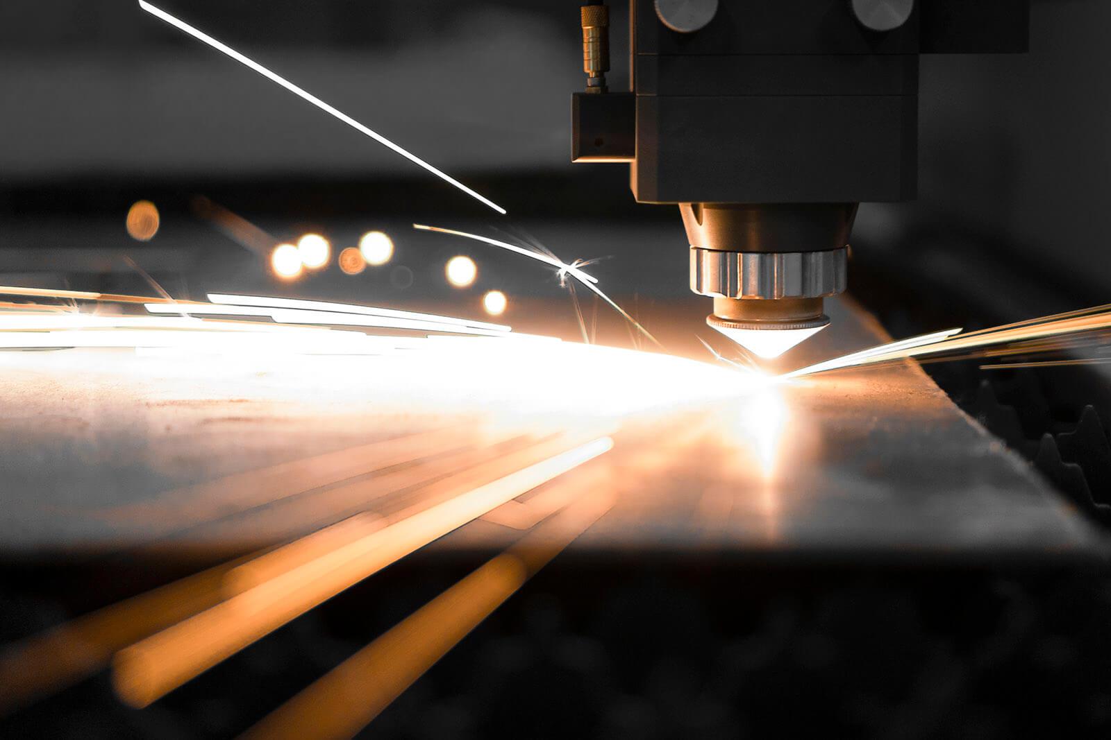 Close-Up Of Fiber Laser Cutting Metal